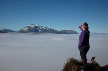 Ali Evans above the clouds