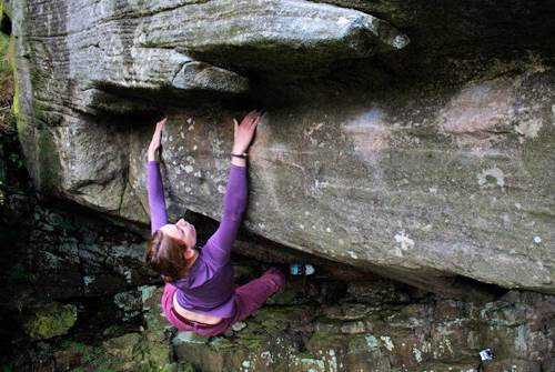Nicole bouldering at Goldsborough