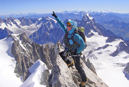 Lou on Mont Maudit in the Alps