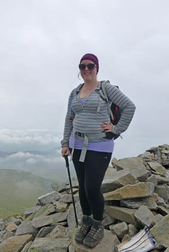 Nicola on the summit of Elidir Fawr
