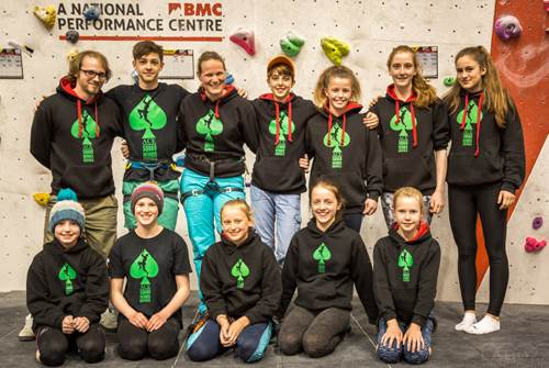 Zoe with the AW Sheffield climbing squad